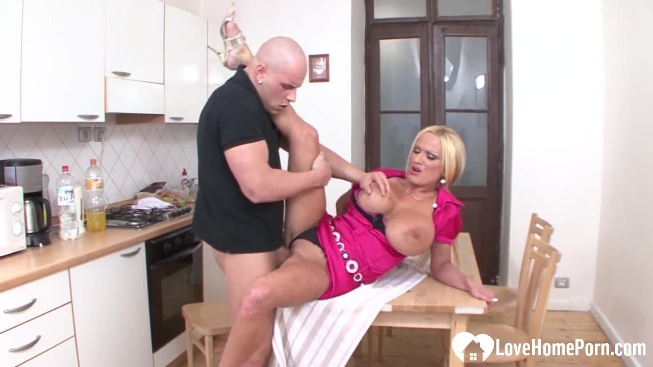 Busty blonde stroking cock and getting rammed.mp4