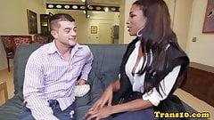Bigbooty ebony tgirl rides cock for cash