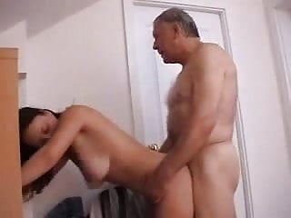 Young brunette with nice natural boobs sucks and fucks with grandpa