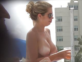 Hidden Cam Of Busty Topless Woman On Beach