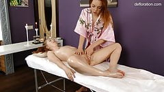 Arina being massaged for first time