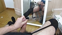Cumming wearing lingerie in front a mirror
