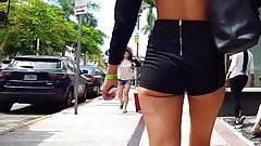 Candid voyeur hot body tight cheeky shorts girl