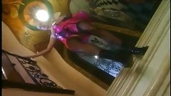 Fingering milf in a latex skirt nylons and boots