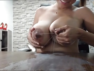 Incredible milky natural tits. Lactation home dairy boobs.