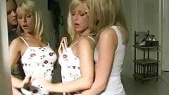 Hot cute lesbian blonde babes kissing