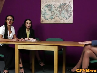 British cfnm femdoms tug in front of voyeurs
