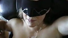 Super hot blindfolded wife gets covered in cum!