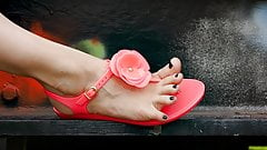 Feet 043 - Black Pedicured Toes Exposed Wearing Pink Sandals