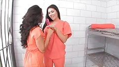 Girls with a double dildo in jail