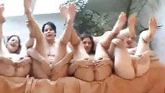 Four girls open wide