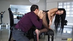 Shemale Lana gets ass and mouth hard drilled