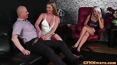 Glam CFNM babes licking lucky dudes knob