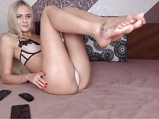 Beautiful model shows her beautiful legs and feet.