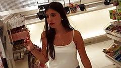 Candid voyeur teen beauty shopping in shorts