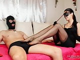 Footjob from Mystery in fully fashioned nylons