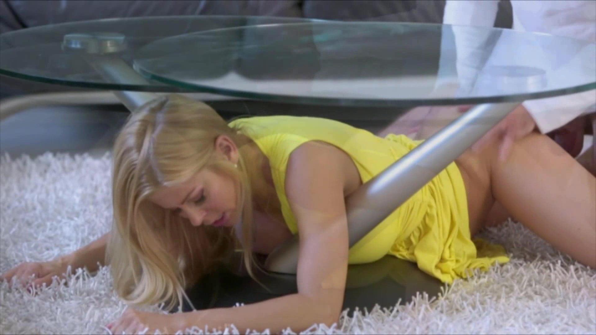 Alexis fawx stuck under table