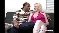 BBW amateur blond sucking black cock