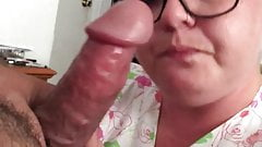 BBW watches and films herself throating cock