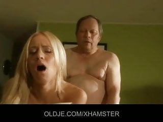 Dirty oldman is fucked by a hot young blonde in the kitchen