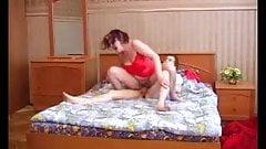 Mom Olga on bed