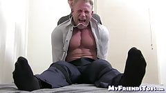 Tied up muscular hunk tickle tormented by mature master