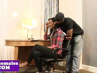 Preview 1 of Smalltitted ebony amateur pounded after bj