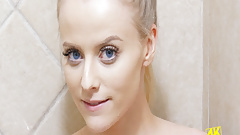 Gorgeous model caresses under Shower in 4K