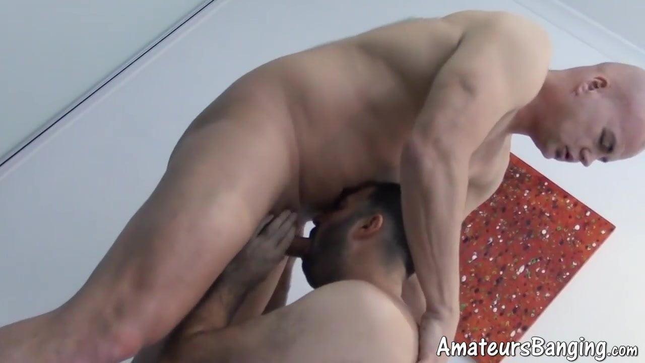 Bald mature gay ass bangs his furry younger stud