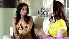 Ebony babe licks pussy of white chick