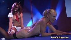 wild lesbian sex on public stage