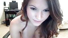 Hot brunette masturbating on webcam