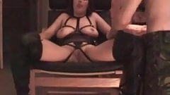 Dirty Amateur MILF in lingerie and boots fisted by her hubby