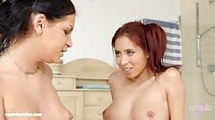 Annie Wolf and Paula Shy in lesbian scene Bathtub confession