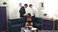 Big boobs mature woman swallows two cocks for work