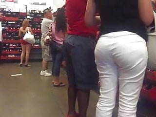 Big booty blonde in white pants VPL