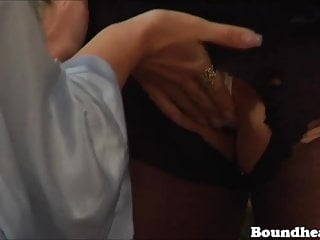 These two blonde slaves enjoy pleasing their master all nigh