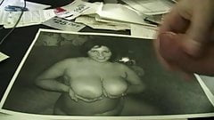 Jerking off on big tits pic with slow motion cumshot