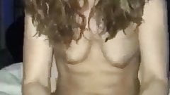 Girl with nice hangers tugging on dick