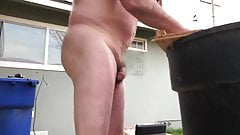 A naked daddy sawing in slo-mo.