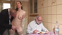 stranger fuck a girl in front of old man cuckold for money