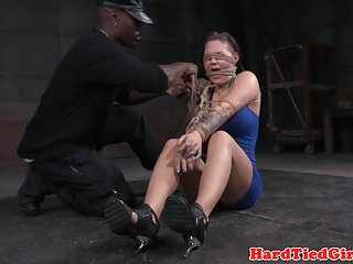 Suspended bdsm sub dominated by black dom