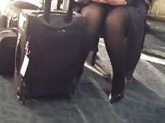 Pantyhose legs at airport Flight Attendant