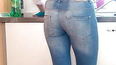 Milf wife's ass in tight jeans