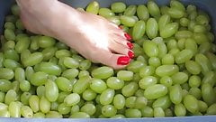 Feet with Long Red Toenails Stomping Green Grapes (I part)