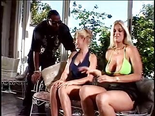 Hot blondes with big tits suck cock and get anal fucked by LL Cool J on patio