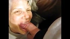 White hair granny suck balls dick and get cum in mouth