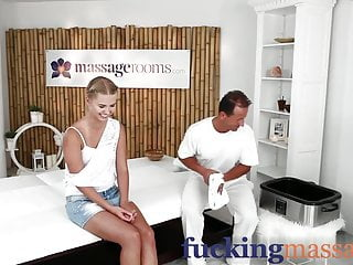 Massage Rooms Young college girl beauty has orgasm