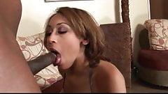 Black ebony slut fitted with a big black cock