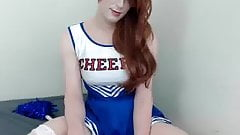 Cute Cheerleader Crossdresser in Stockings